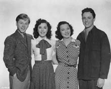 Publicity Photo with Mickey Rooney, Ann Rutherford & Todd Karns