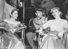 Zsa Zsa Gabor visiting the set with Kathryn and Leslie Neilsen